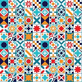 Colorful geometric tiles seamless pattern, vector