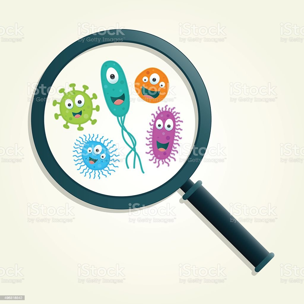 Colorful germs and magnifying glass - Vector illustration vector art illustration