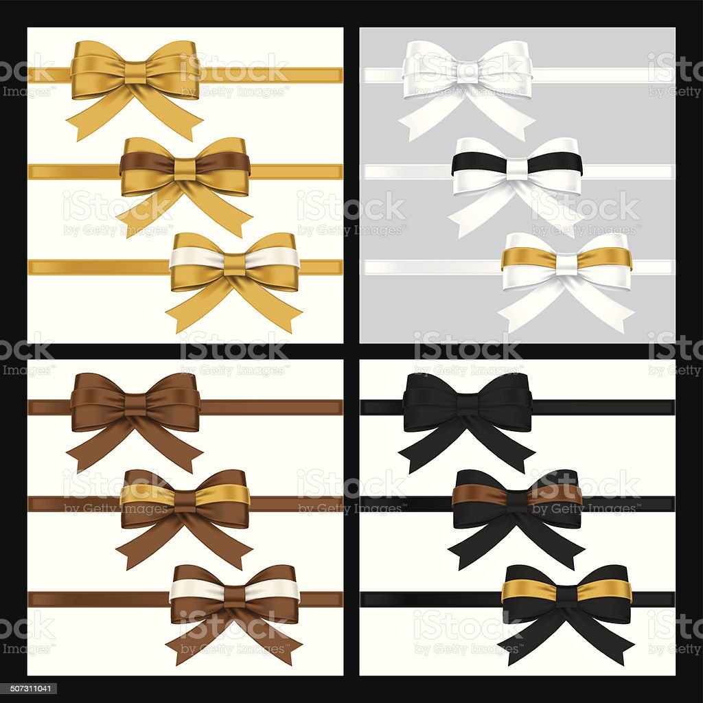 colorful gift bows with ribbons vector art illustration