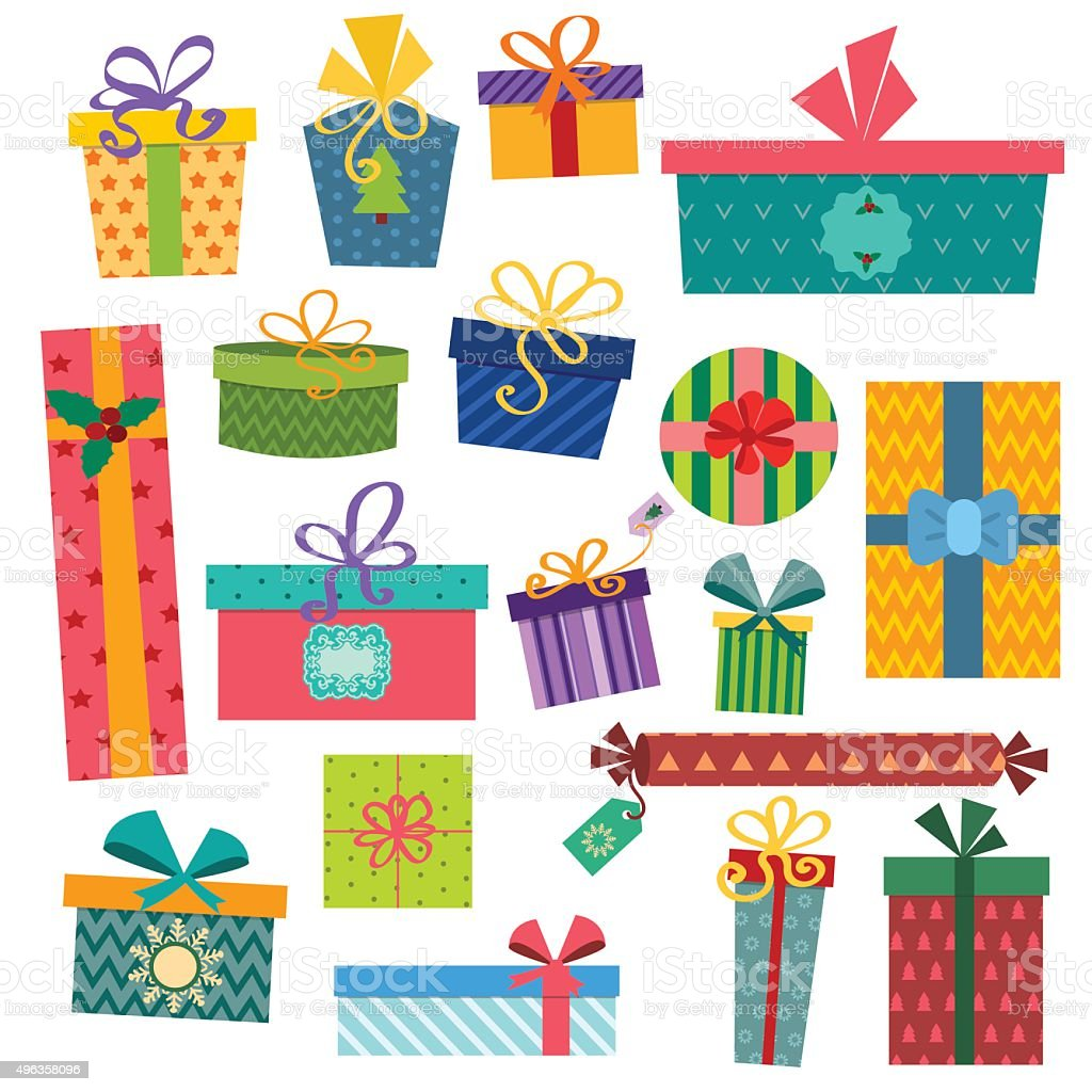 Colorful gift boxes with bows and ribbons vector set vector art illustration