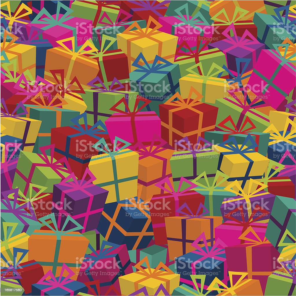 Colorful gifts with bows pattern vector art illustration