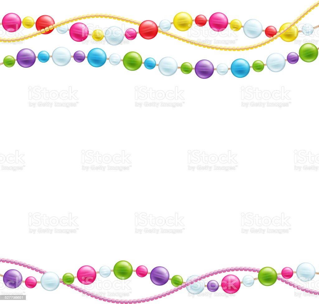 Colorful glass beads decoration background. vector art illustration