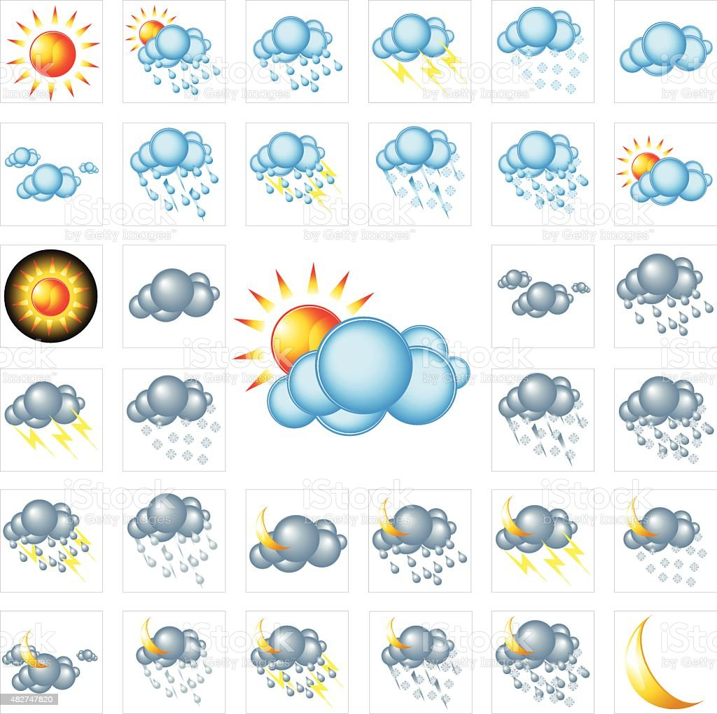 Colorful Glossy Weather Icons - Vector Illustration vector art illustration