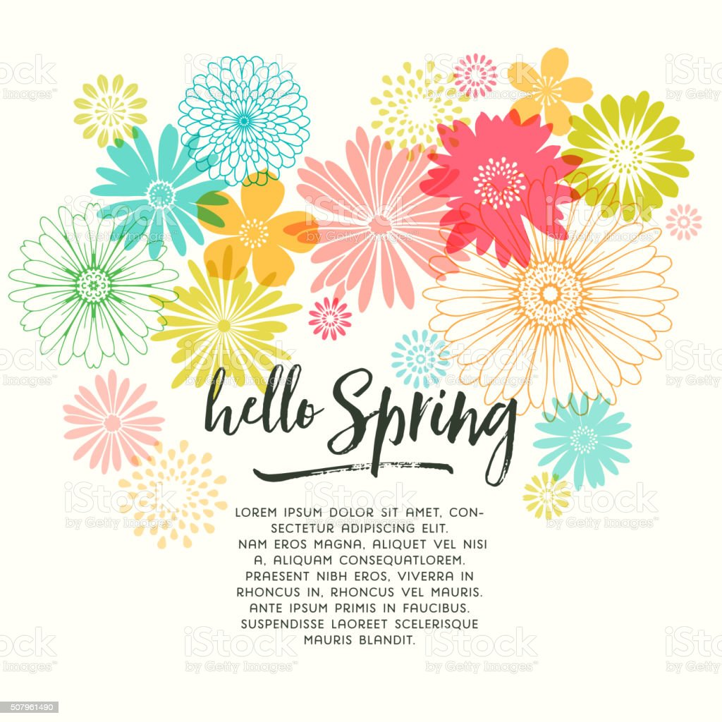 Colorful Graphic Spring Flowers vector art illustration
