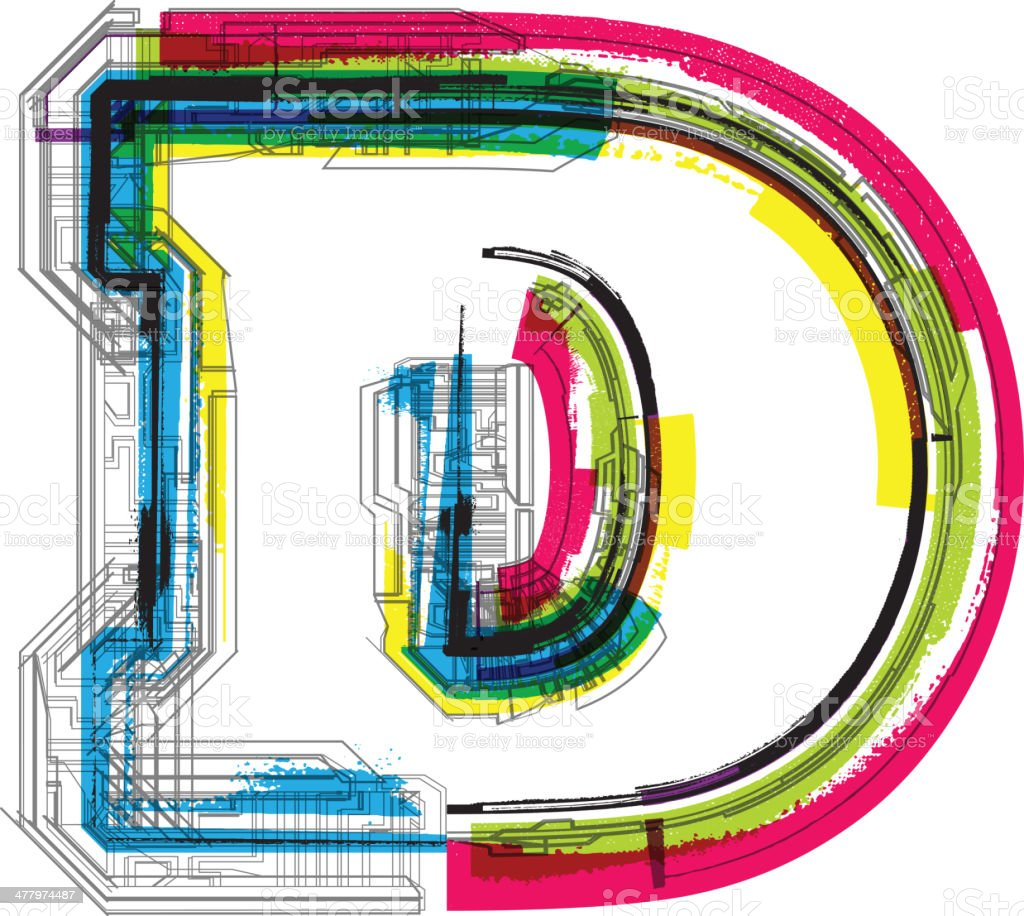 Colorful grunge font. Letter D royalty-free stock vector art