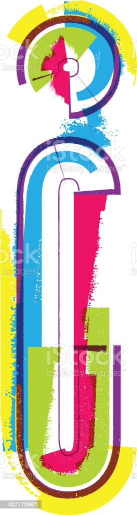Colorful grunge font. Letter i royalty-free stock vector art