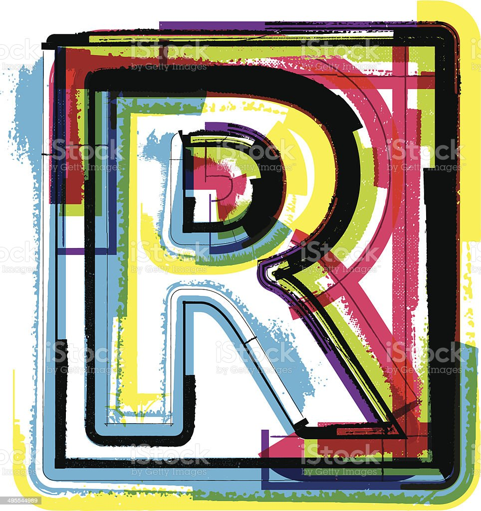 Colorful Grunge Font LETTER R royalty-free stock vector art