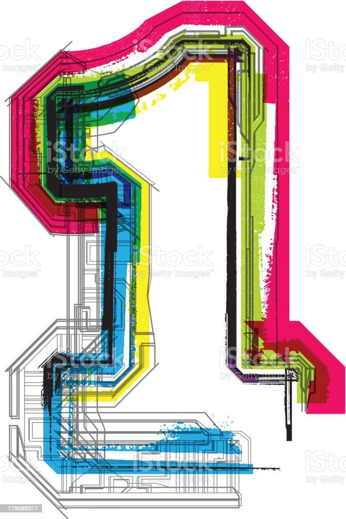 Colorful grunge font. Number 1 vector art illustration