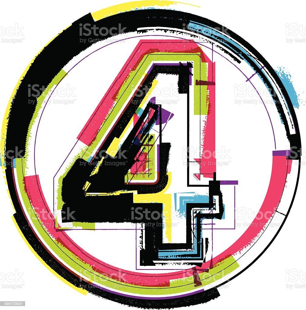 Colorful Grunge Font NUMBER 4 vector art illustration