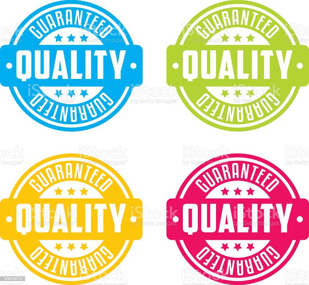 Colorful Guaranteed Quality Stamp Labels vector art illustration