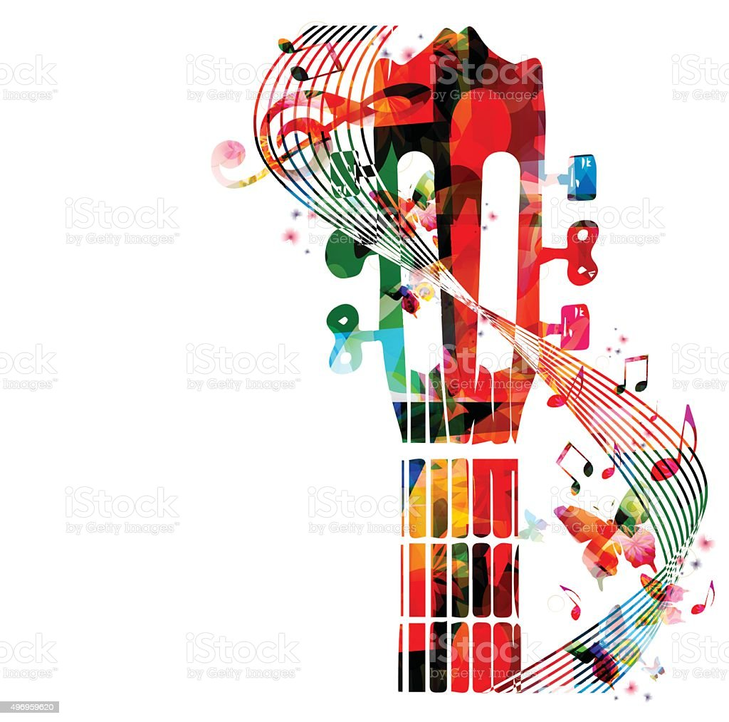 Colorful guitar fretboard with butterflies vector art illustration