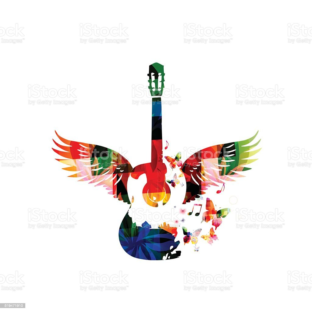 Colorful guitar with wings vector art illustration