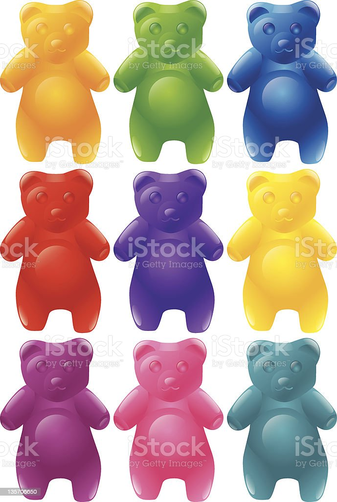 Colorful gummy bears in set of nine vector art illustration