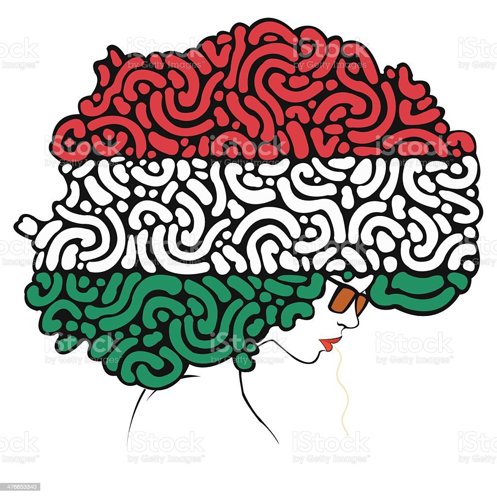 colorful hair a flag of Italy royalty-free stock vector art