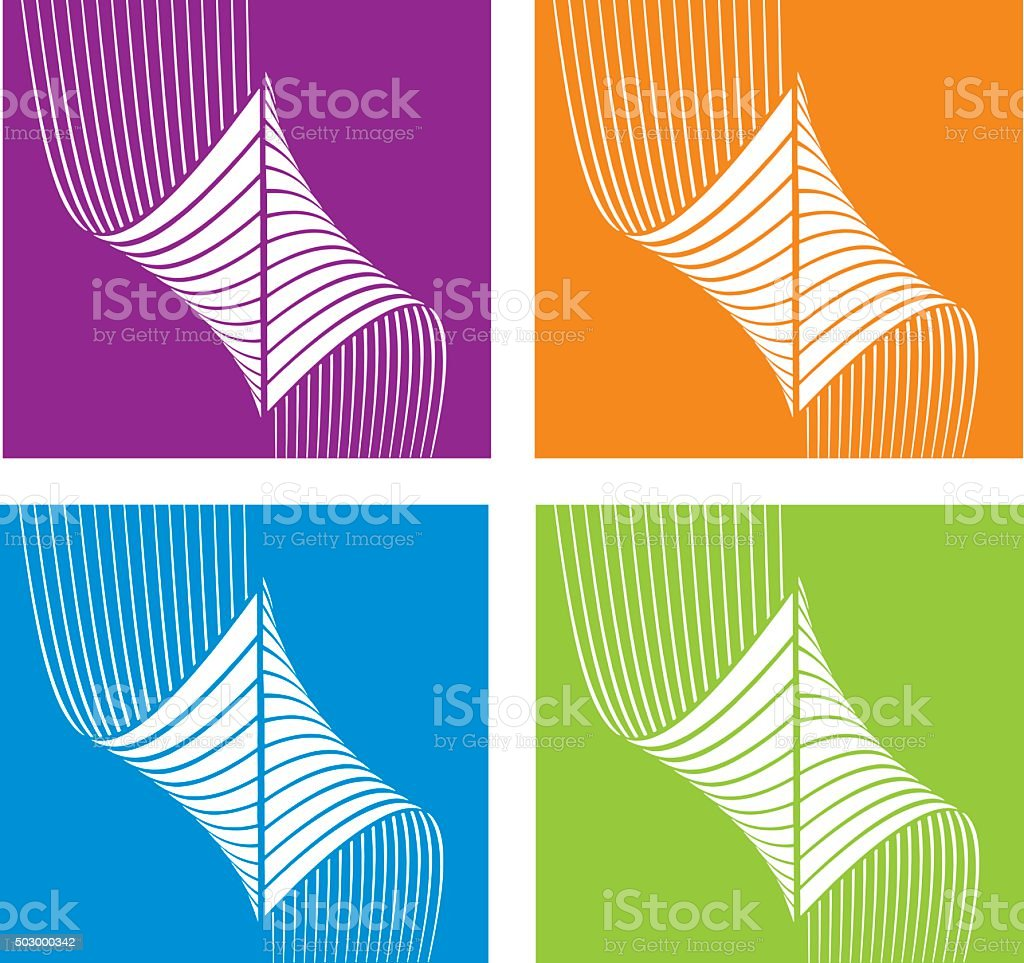 Colorful Halftone Pattern Technology Icons Set vector art illustration