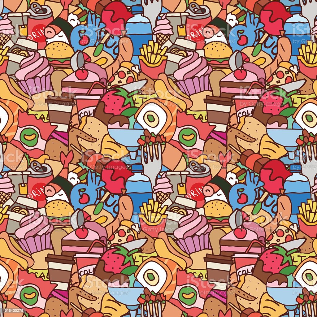 Colorful hand drawn fast food seamless pattern vector art illustration