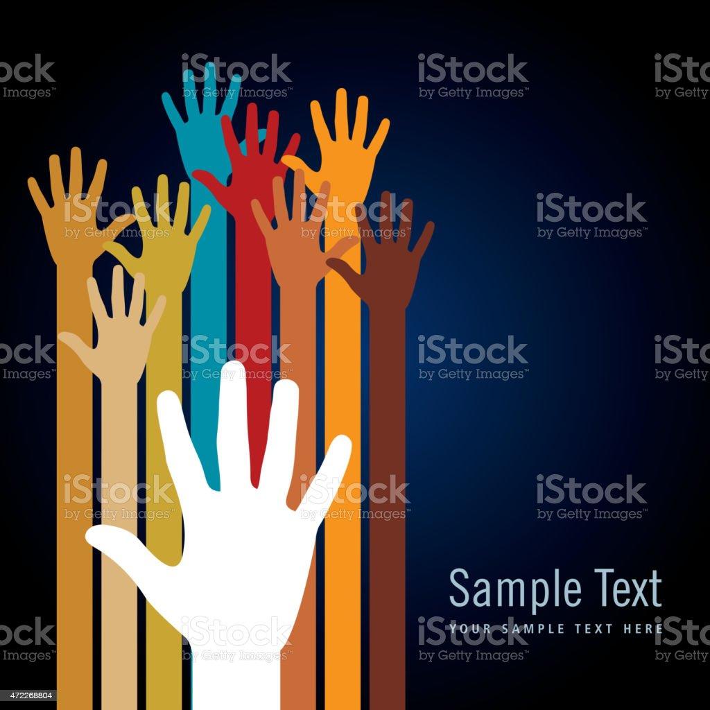 Colorful hand illustrations on black background template vector art illustration