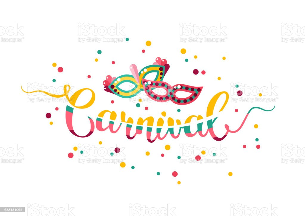 Colorful hand lettering Carnival with masks vector art illustration