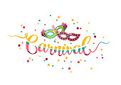 Colorful hand lettering Carnival with masks