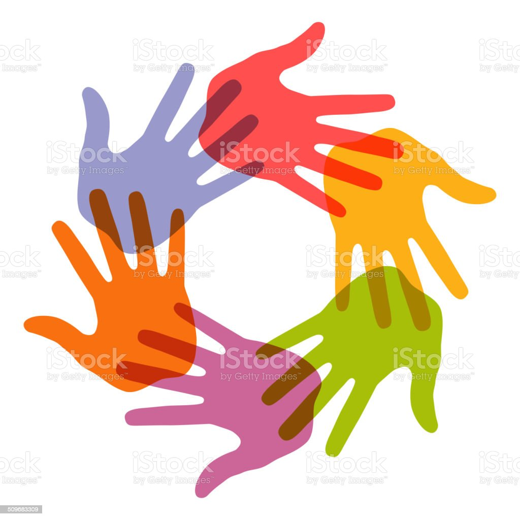 Colorful Hand Print icon, vector art illustration