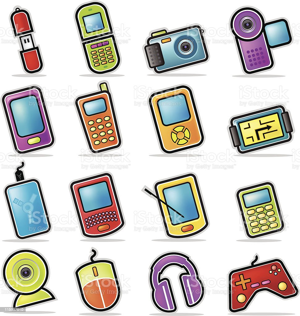 Colorful Handheld Electronics Icons royalty-free stock vector art