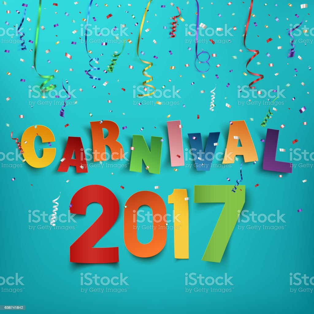 Colorful handmade typographic word carnival 2017. vector art illustration