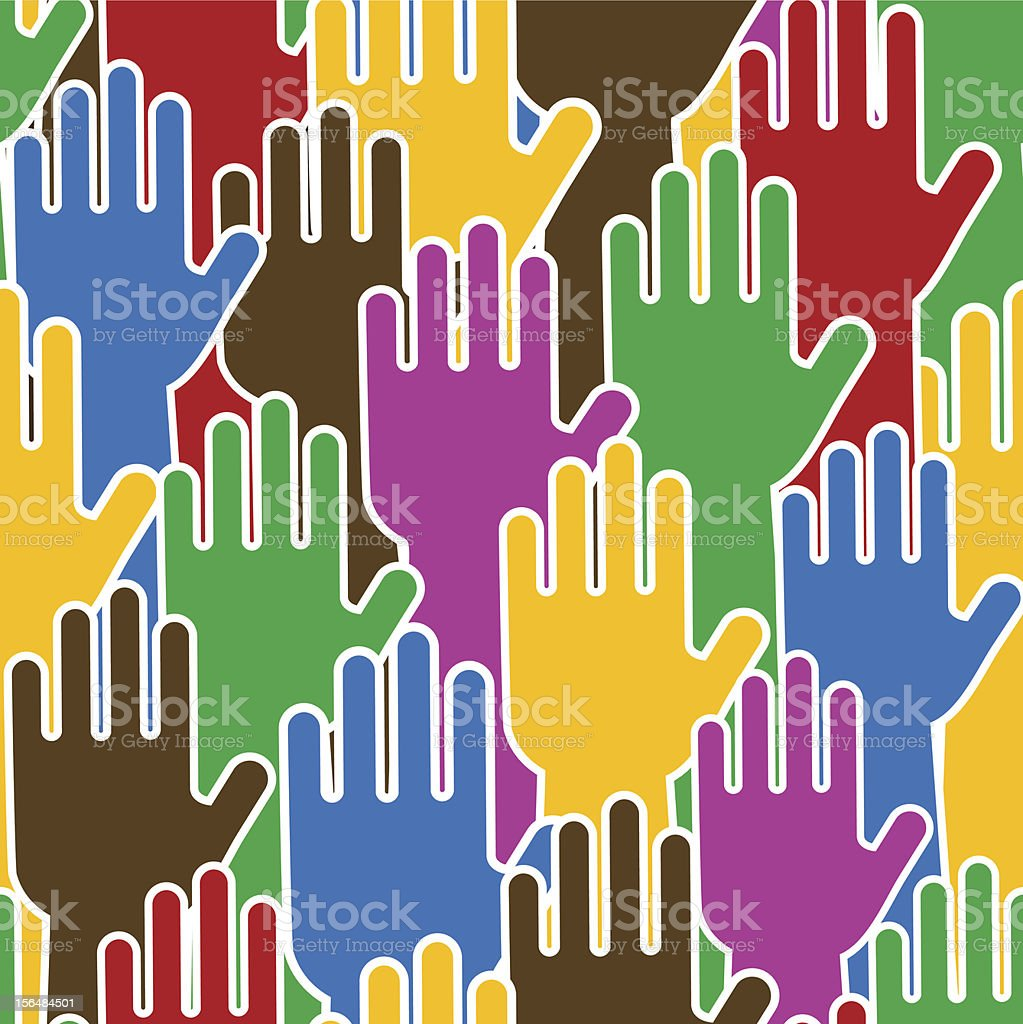 Colorful hands in a seamless pattern vector art illustration