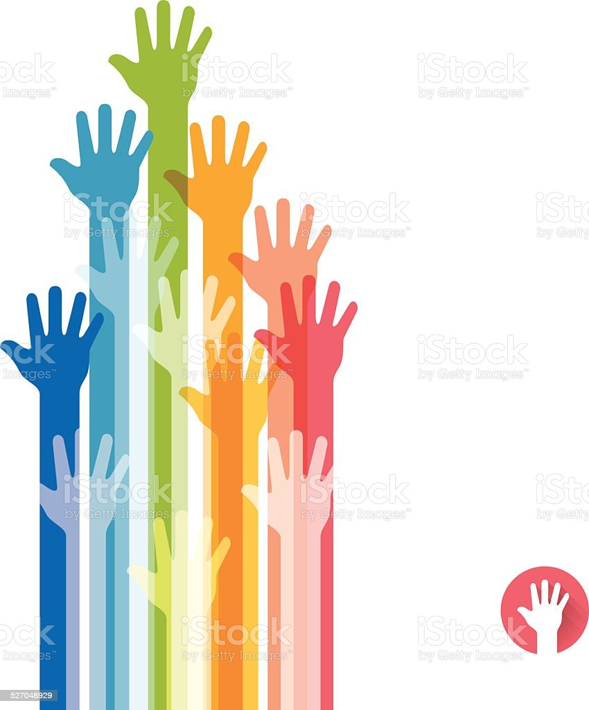 Colorful hands raised straight up vector art illustration