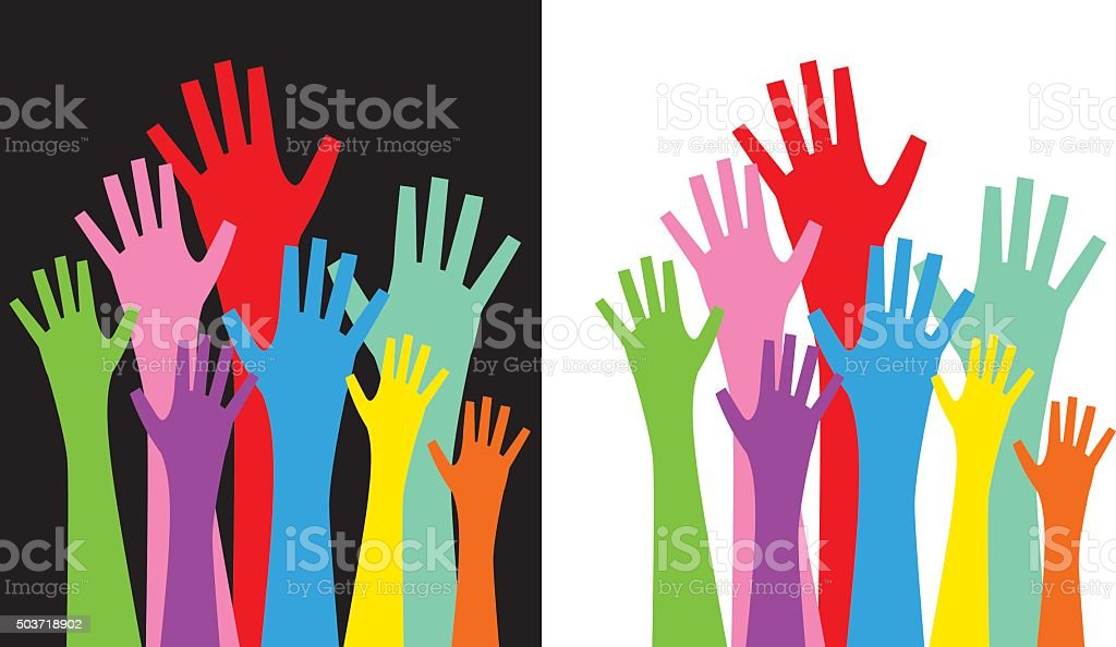 Colorful Hands reaching Up vector art illustration