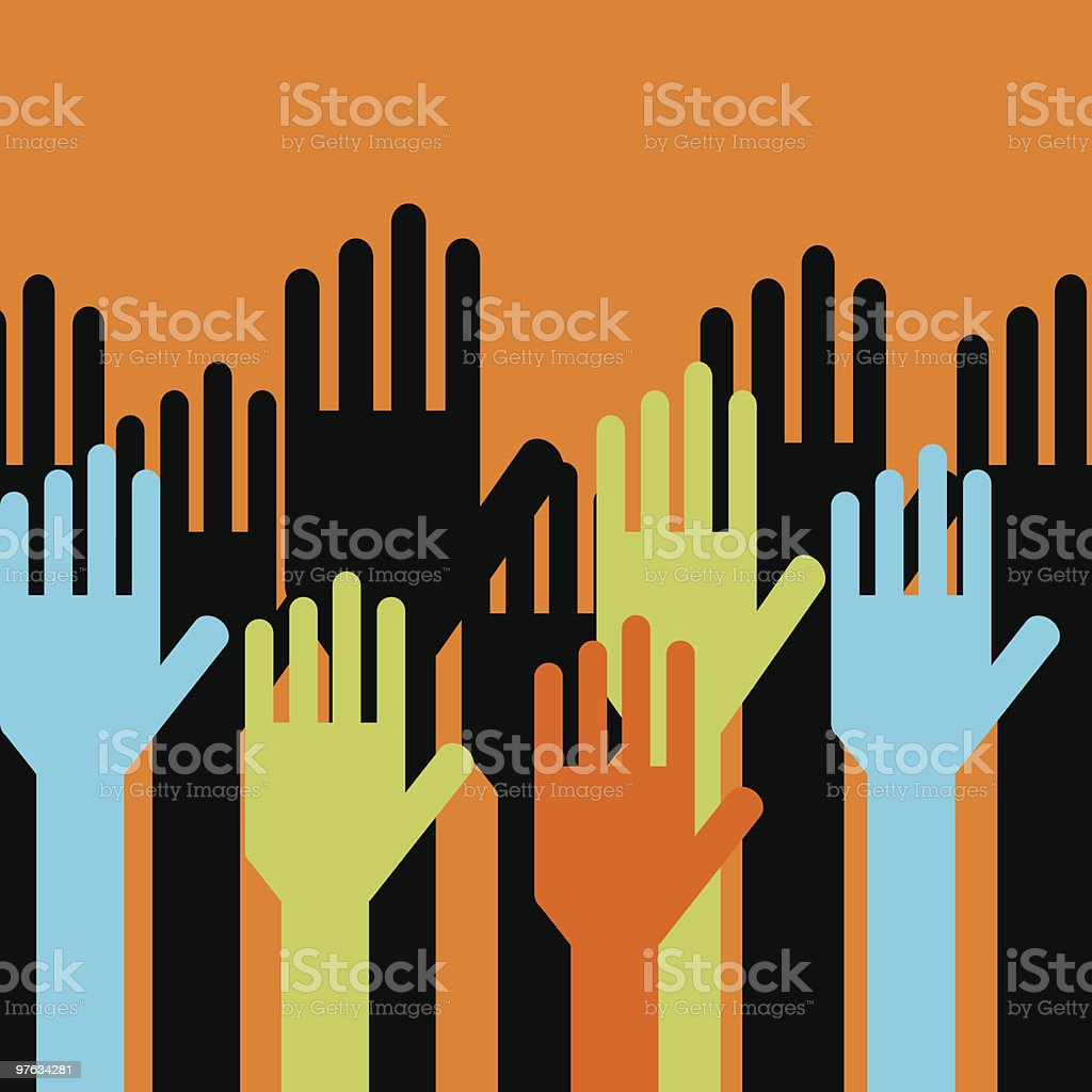 Colorful hands representing community voting royalty-free stock vector art