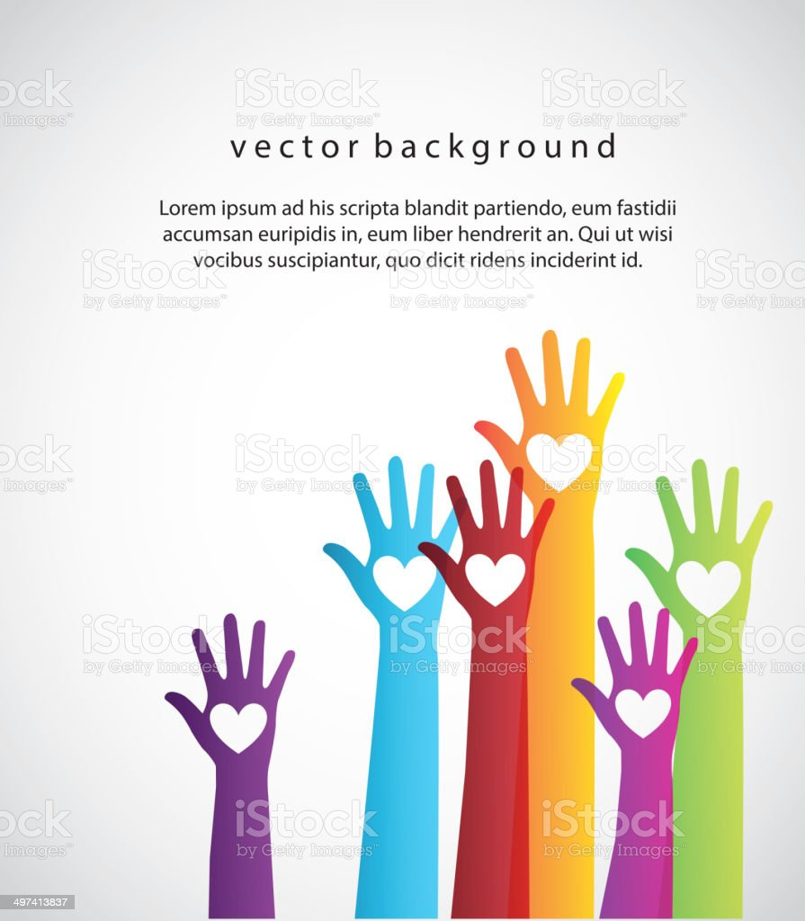 colorful hands vector art illustration