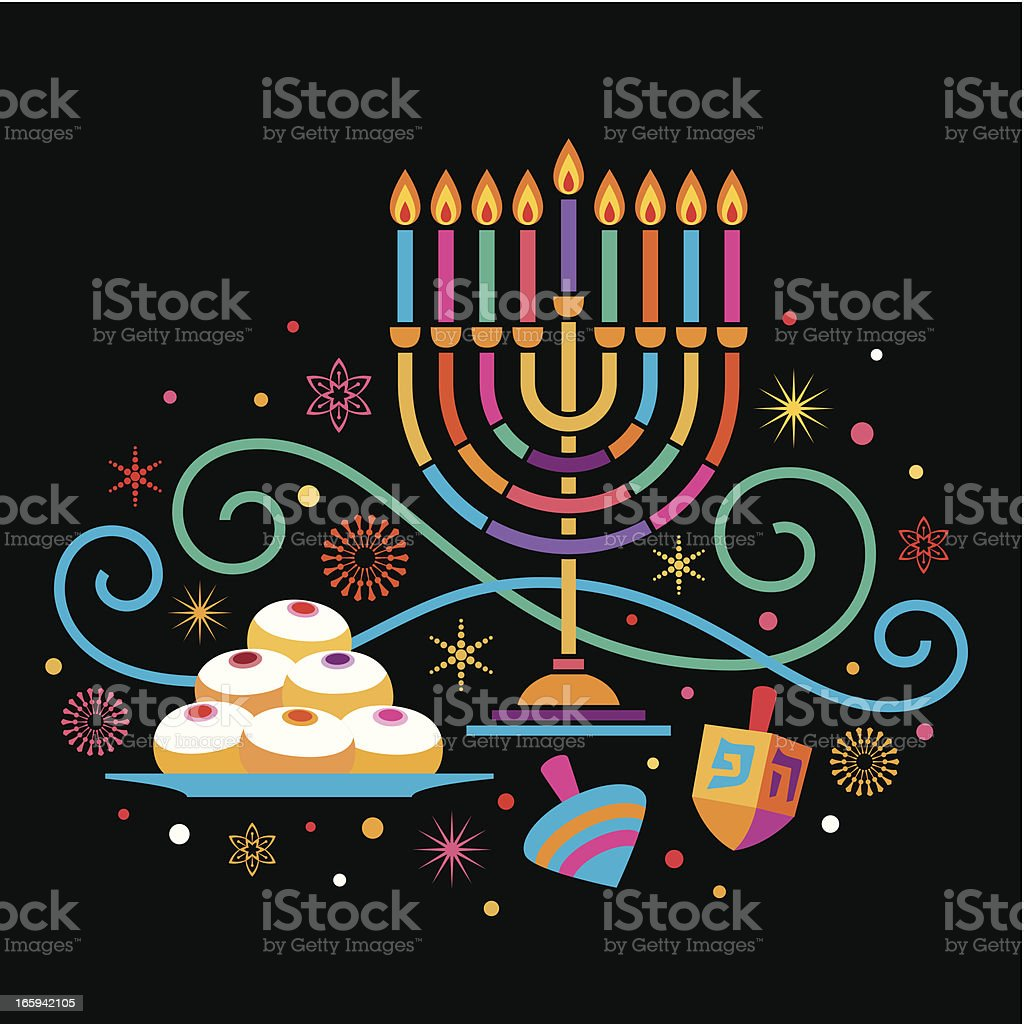 Colorful Hanukkah vector art illustration