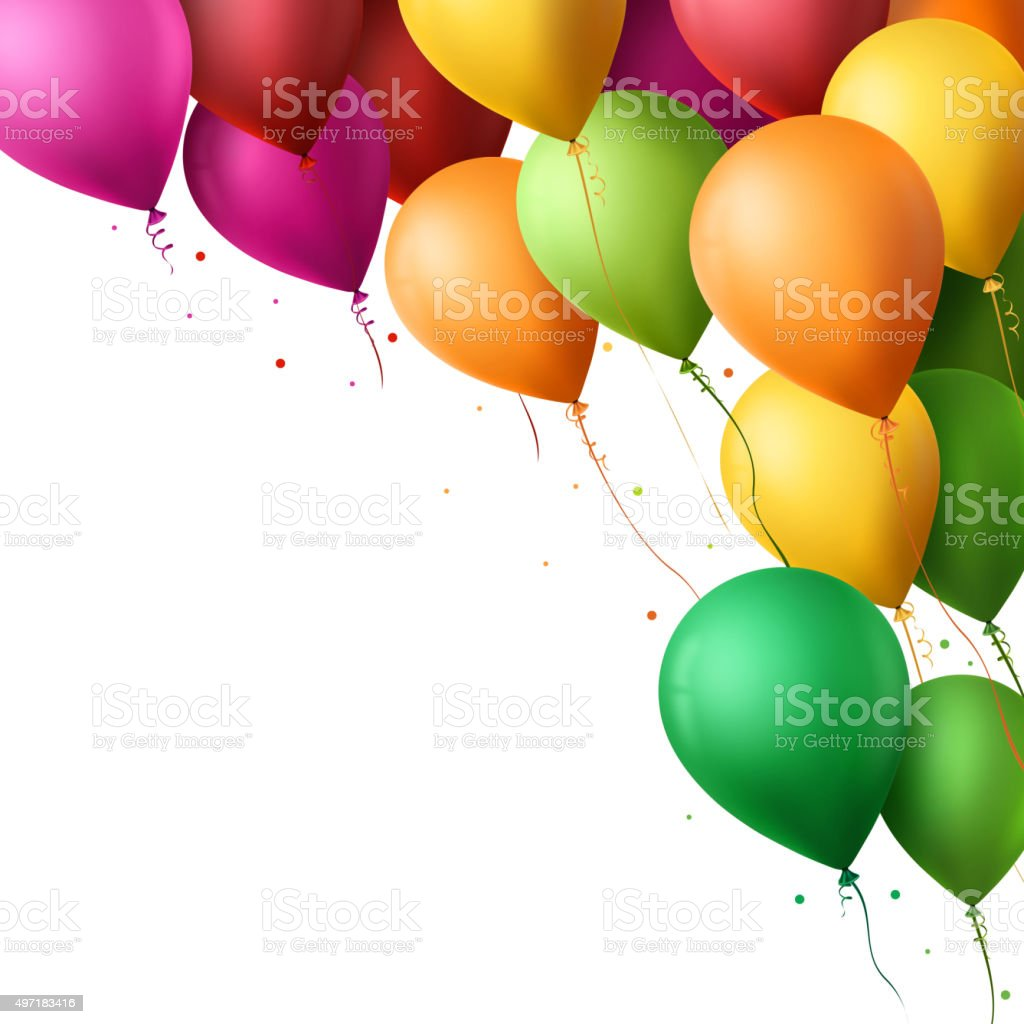 Colorful Happy Birthday Balloons Flying for Party and Celebrations vector art illustration