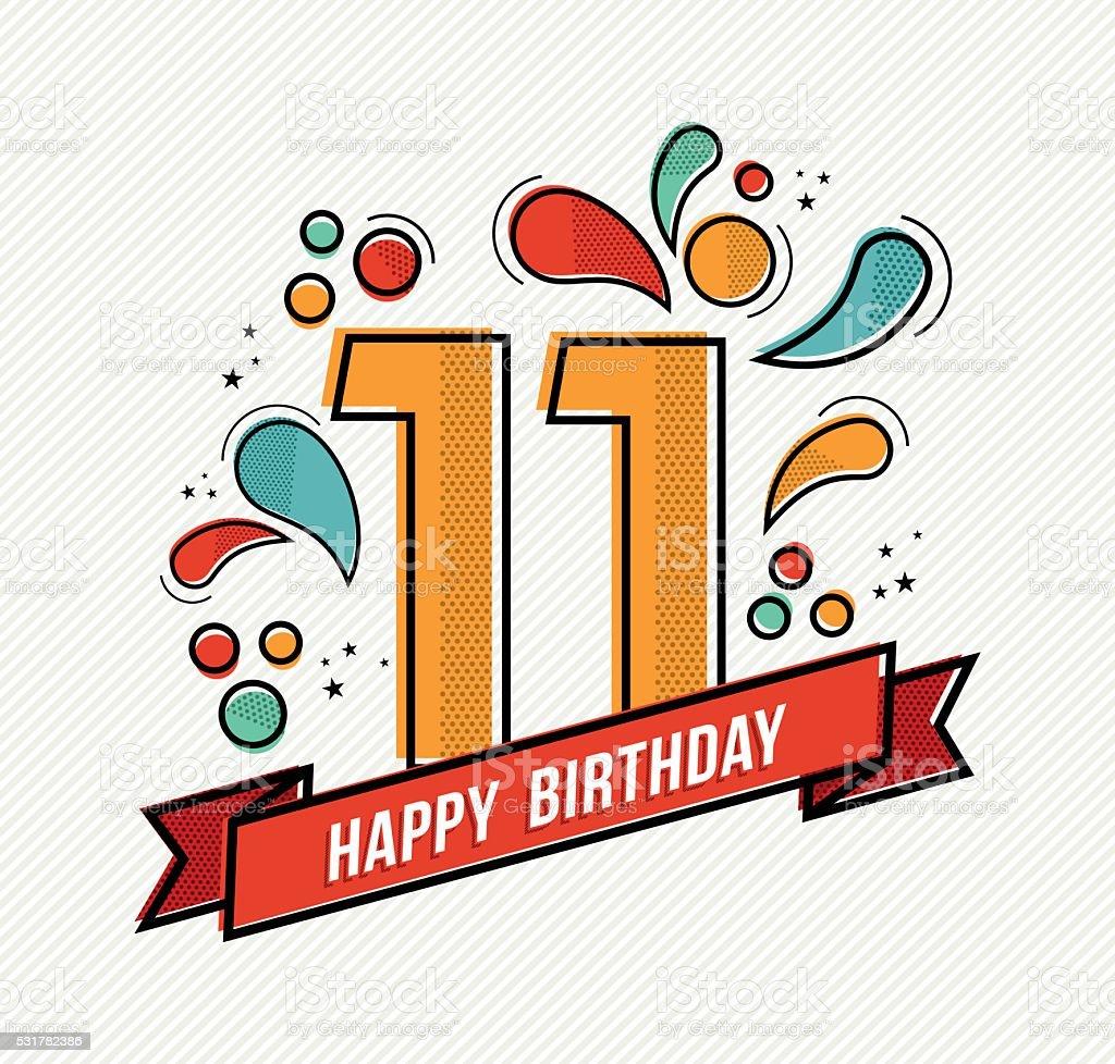 Colorful happy birthday number 11 flat line design vector art illustration