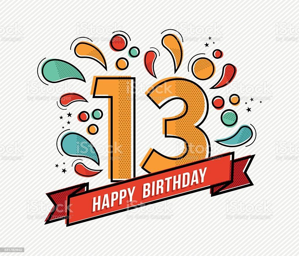 Colorful happy birthday number 13 flat line design vector art illustration