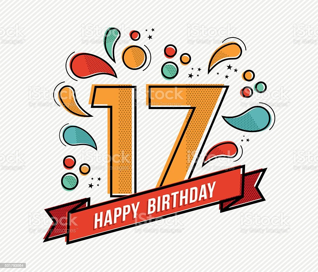 Colorful happy birthday number 17 flat line design vector art illustration