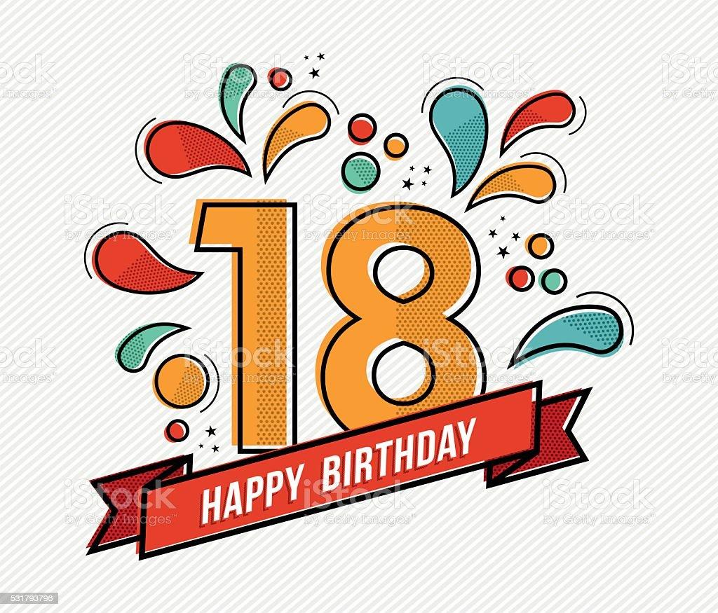 Colorful happy birthday number 18 flat line design vector art illustration
