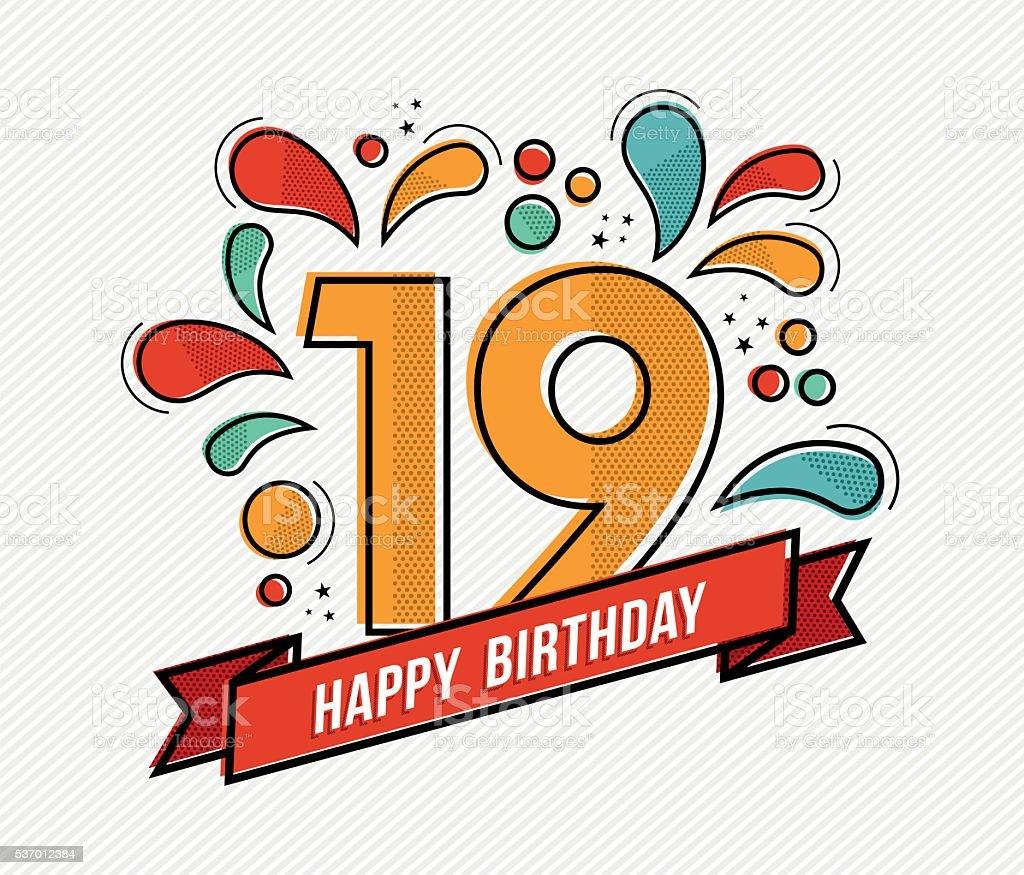 Colorful happy birthday number 19 flat line design vector art illustration