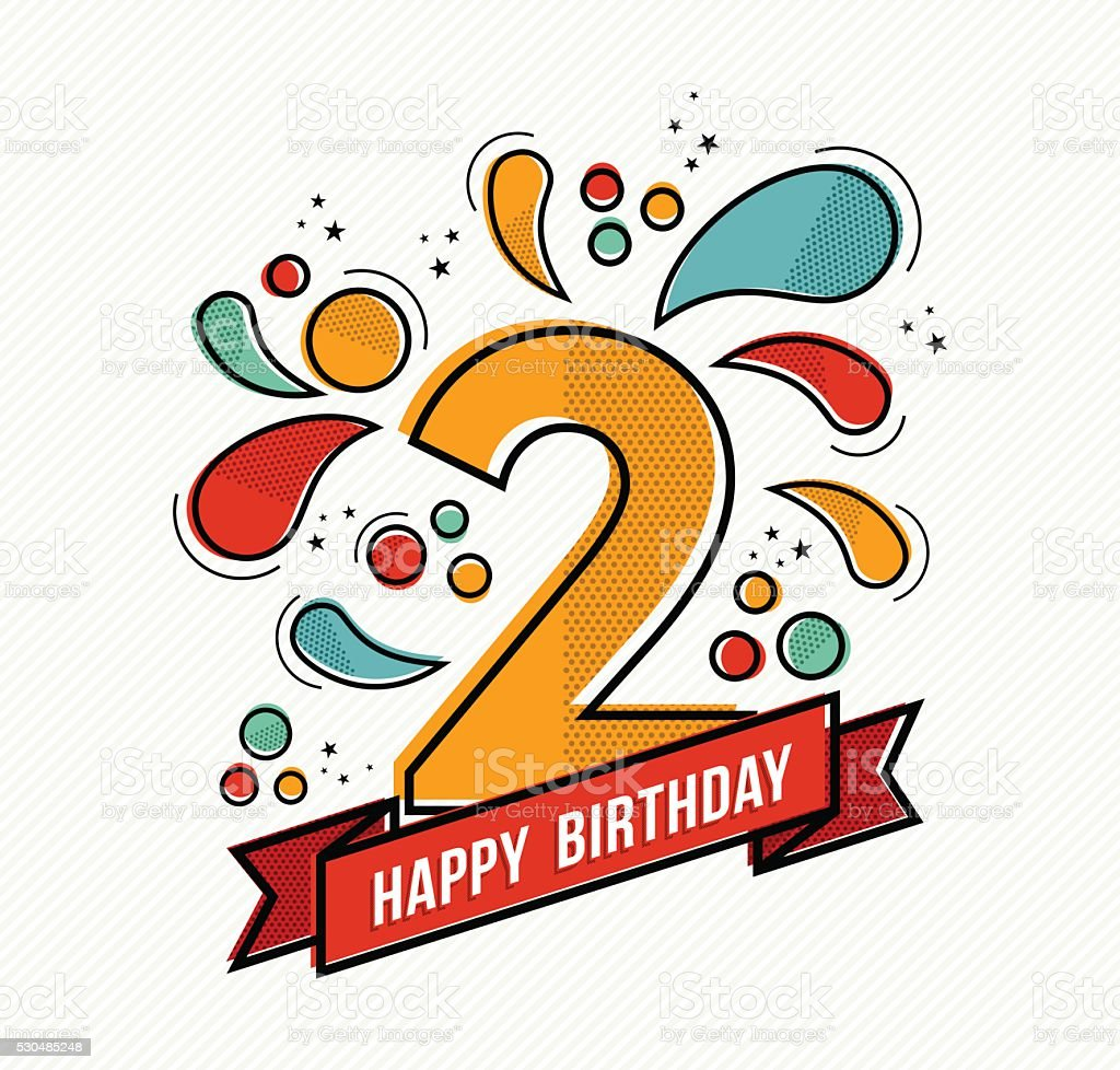Colorful happy birthday number 2 flat line design vector art illustration