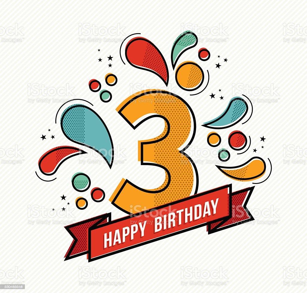 Colorful happy birthday number 3 flat line design vector art illustration