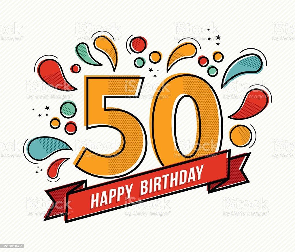 Colorful happy birthday number 50 flat line design vector art illustration