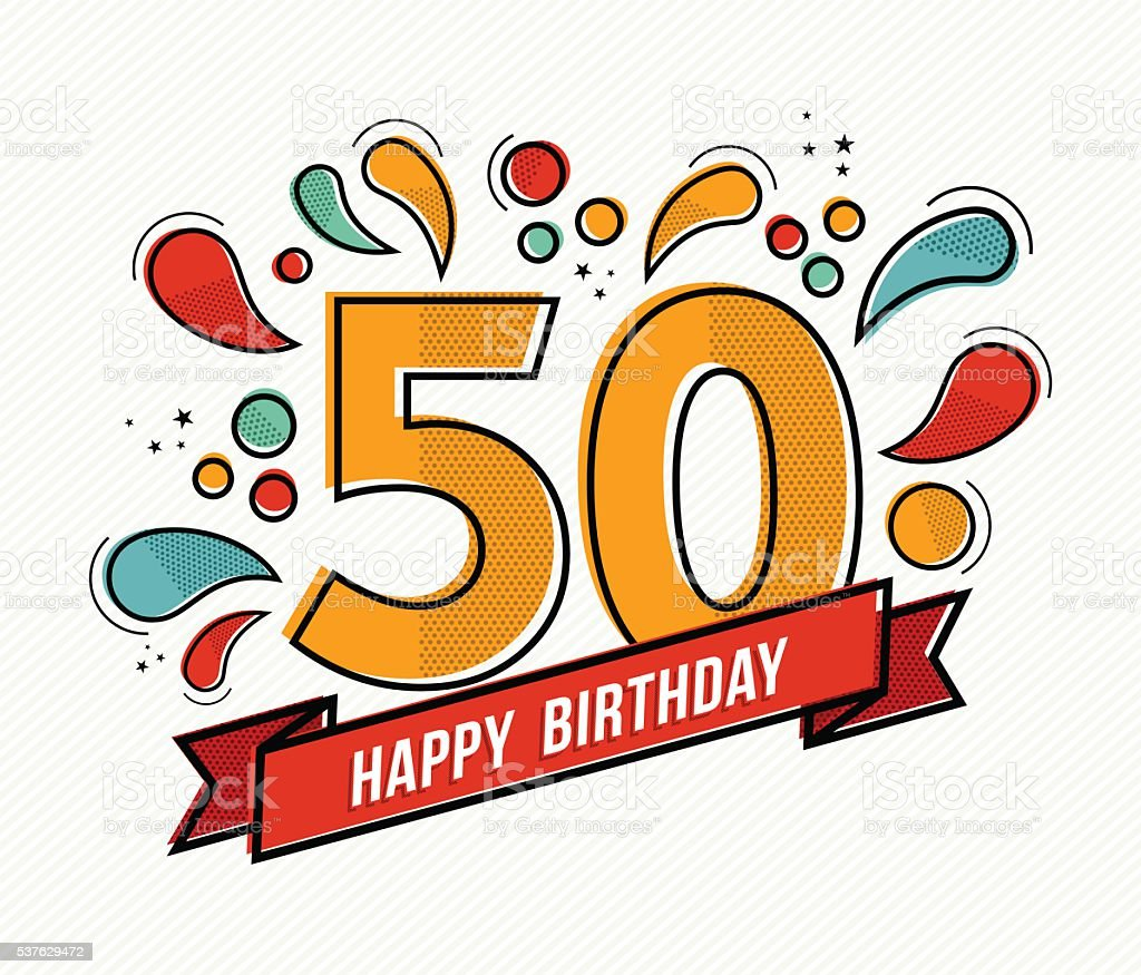 Colorful happy birthday number 50 flat line design vector art illustration