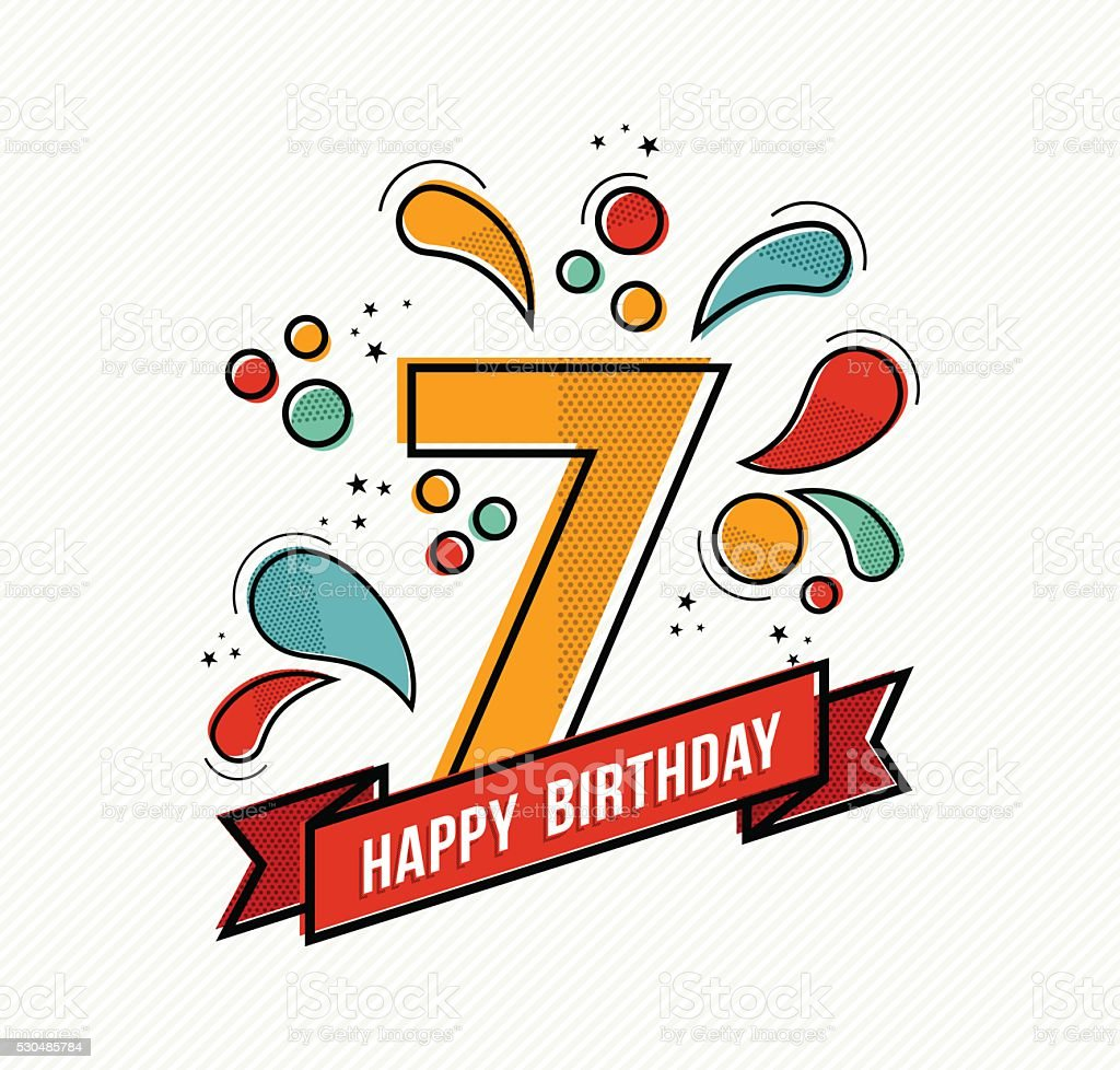 Colorful happy birthday number 7 flat line design vector art illustration