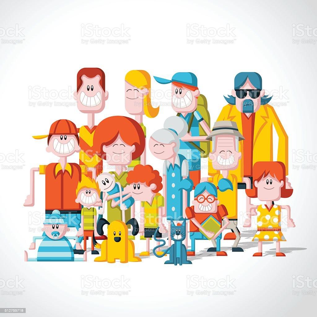 Colorful happy cartoon People. vector art illustration