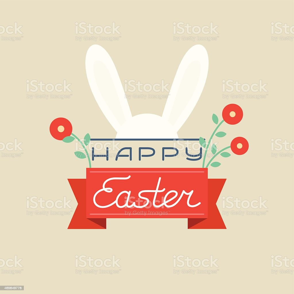 Colorful Happy Easter card with ears - Vector Illustration vector art illustration