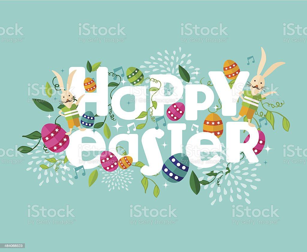 Colorful Happy Easter composition vector art illustration