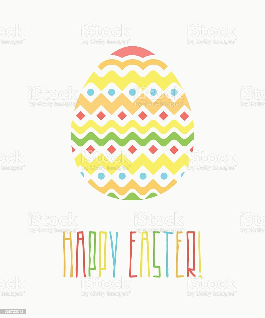 Colorful Happy Easter Greeting Card with Decorative Egg and Words vector art illustration