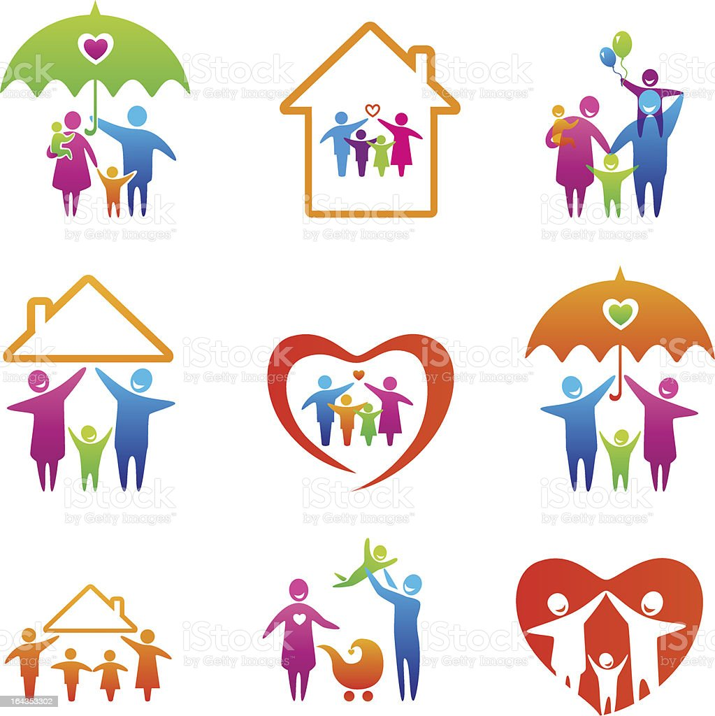 Colorful happy family icons vector art illustration