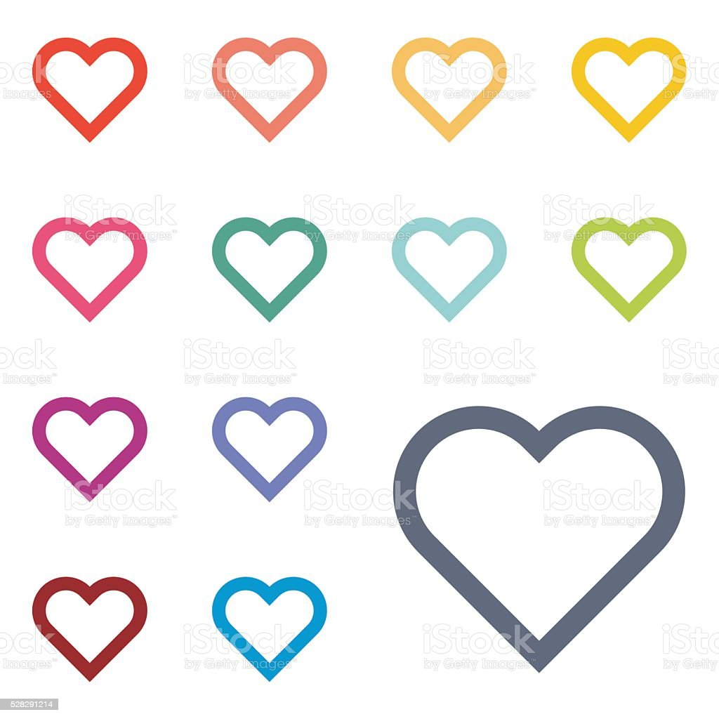 Colorful heart set stock photo