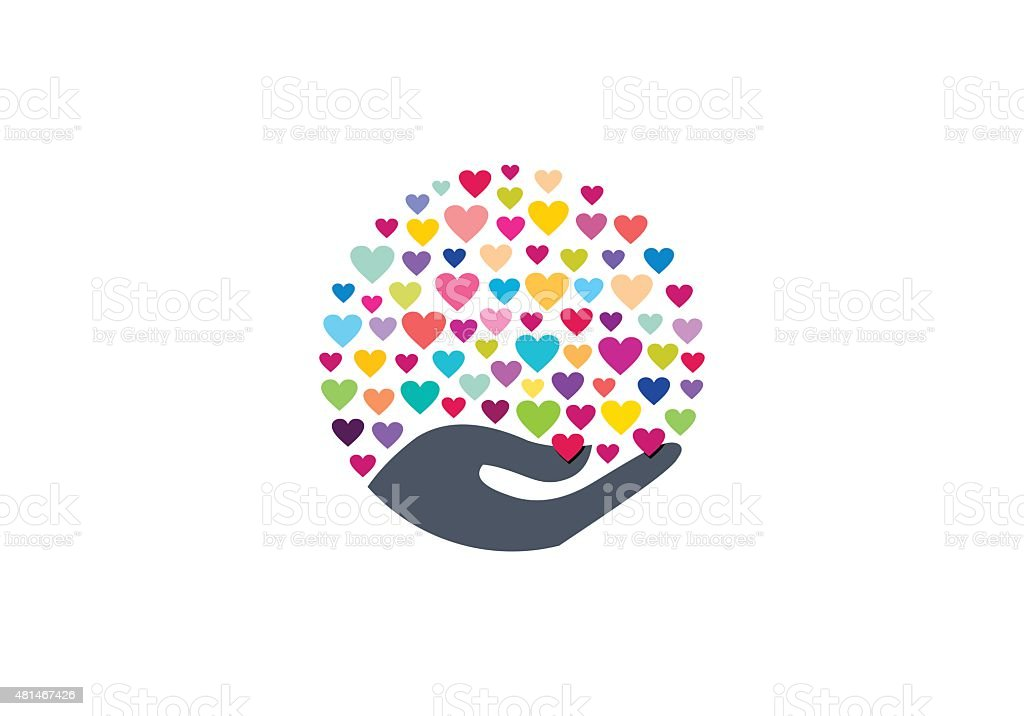 colorful hearts on hand symbol icon vector design vector art illustration